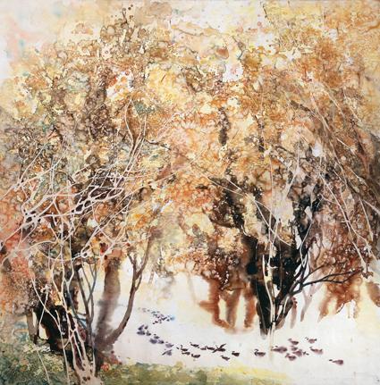因此看温心坦的花鸟画,让人觉得一个画家的文艺修养是何等的